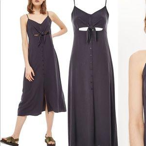 topshop // knot front slip dress
